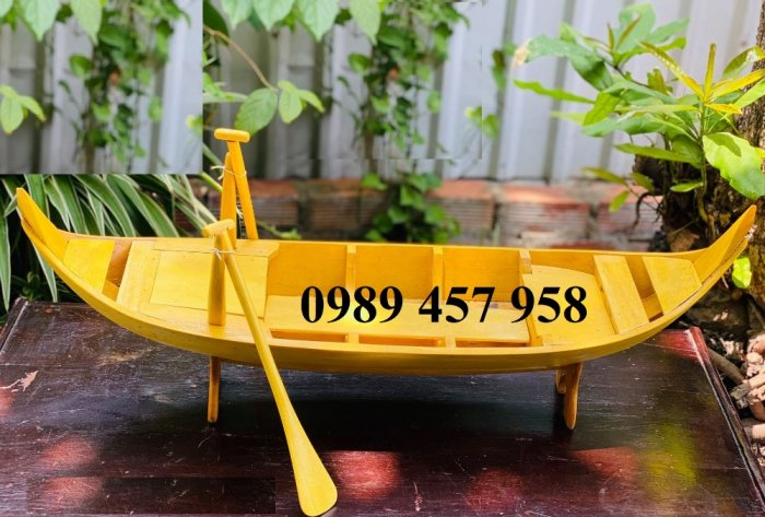 Thuyền gỗ trang trí nhà hàng, Thuyền gỗ bày hải sản, Thuyền chụp ảnh4