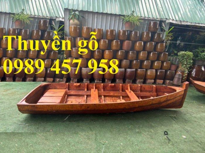 Thuyền gỗ trang trí nhà hàng, Thuyền gỗ bày hải sản, Thuyền chụp ảnh3