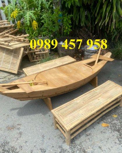 Thuyền gỗ trang trí nhà hàng, Thuyền gỗ bày hải sản, Thuyền chụp ảnh2
