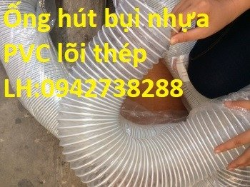 Ống gió bụi trắng- ống hút bụi nhựa PVC lõi thép- ống thông gió4