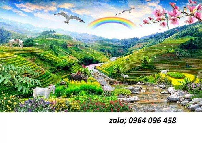 Tranh 3d - tranh gạch 3d ốp tường phong cảnh - CC431