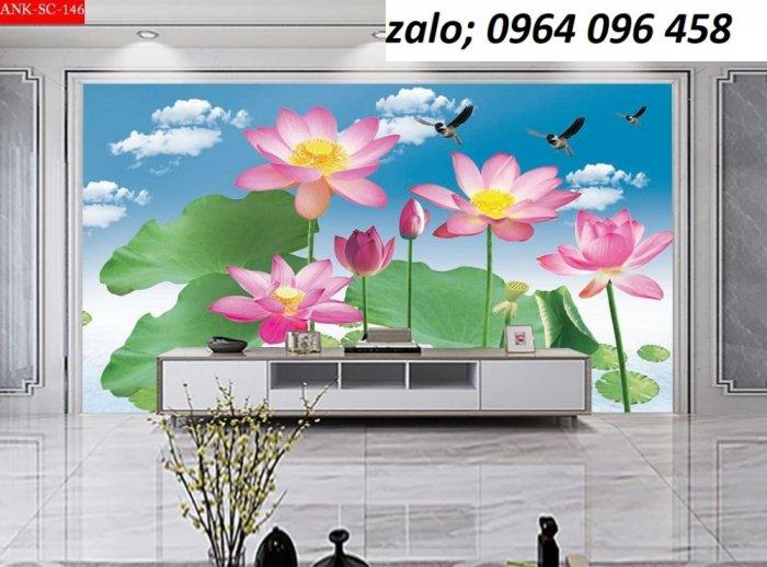 Tranh hoa sen 3d - tranh gạch 3d hoa sen - 565XM10