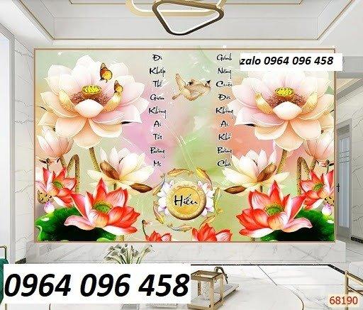 Tranh hoa sen 3d - tranh gạch 3d hoa sen - 565XM9