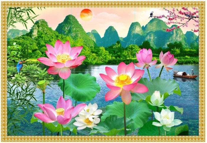 Tranh hoa sen 3d - tranh gạch 3d hoa sen - 565XM8