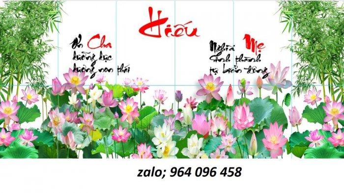 Tranh hoa sen 3d - tranh gạch 3d hoa sen - 565XM7