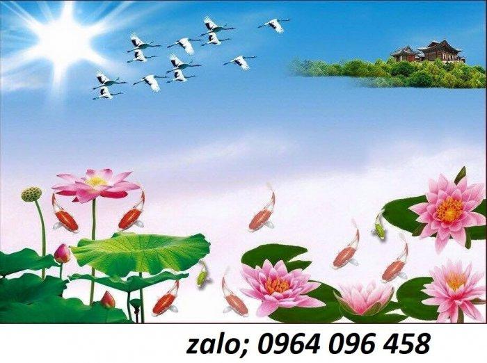 Tranh hoa sen 3d - tranh gạch 3d hoa sen - 565XM6