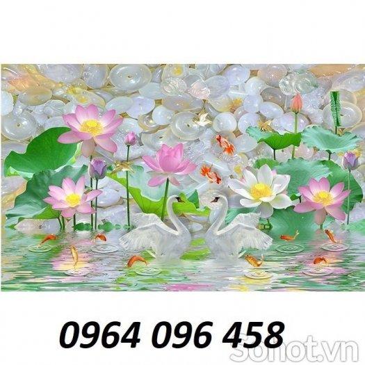 Tranh hoa sen 3d - tranh gạch 3d hoa sen - 565XM5