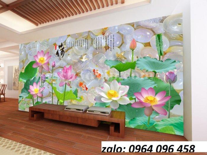 Tranh hoa sen 3d - tranh gạch 3d hoa sen - 565XM4