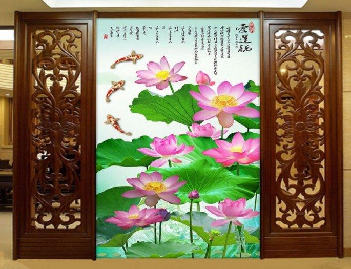 Tranh hoa sen 3d - tranh gạch 3d hoa sen - 565XM3