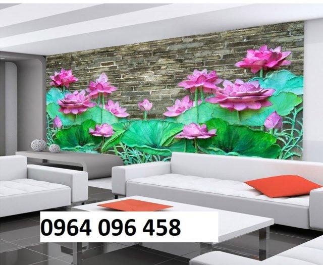 Tranh hoa sen 3d - tranh gạch 3d hoa sen - 565XM2