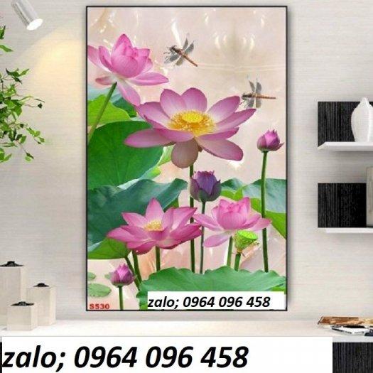 Tranh hoa sen 3d - tranh gạch 3d hoa sen - 565XM1