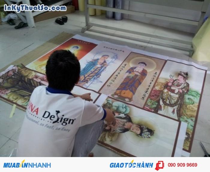 In tranh nghệ thuật chất liệu vải silk hình Quan Âm Bồ Tát