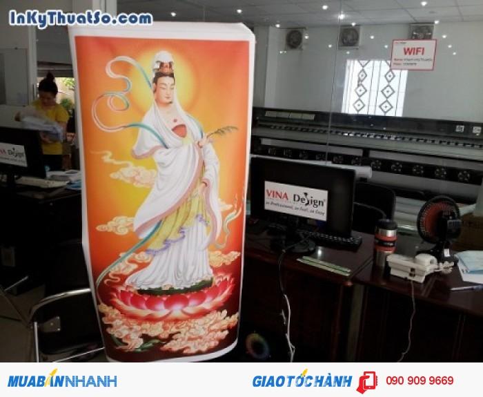 In tranh khổ lớn hình Phật Bà Quán Âm từ chất liệu canvas dầu bóng