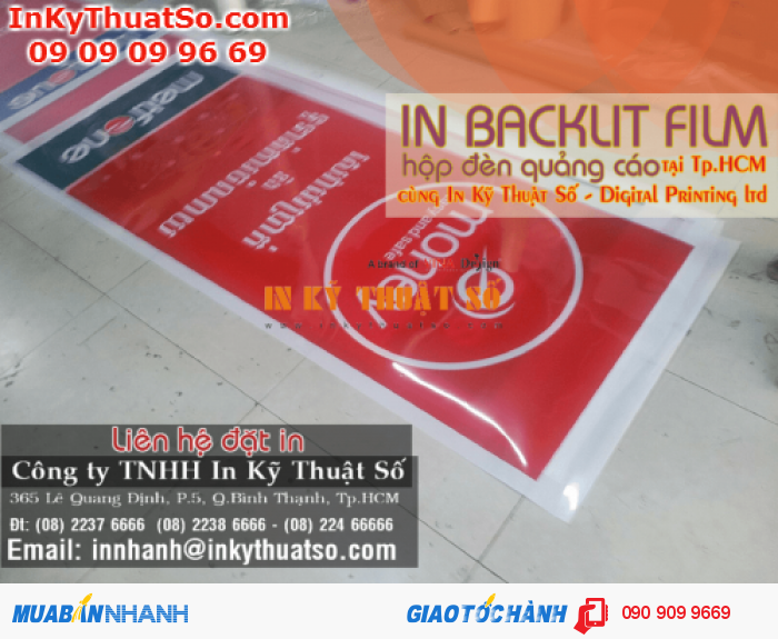 In Kỹ Thuật Số hỗ trơ bạn thiết kế in backlit film (có phí), in ấn, gia công, gi...