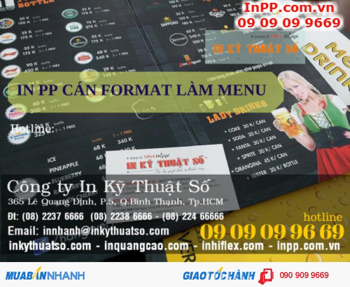 In PP cán format làm menu quán bia