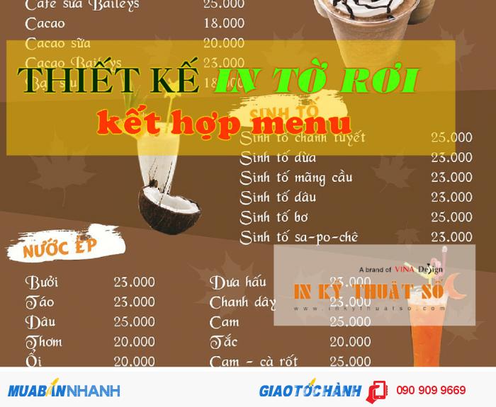 Nhận thiết kế in tờ rơi kết hợp menu cho quán café