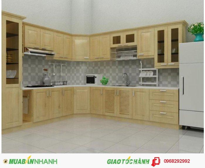 Tủ bếp Mộc Vàng bằng gỗ sồi tự nhiên được tẩm sấy, xử lý mối mọt