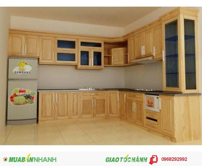 Tủ bếp Mộc Vàng gỗ Sồi Mỹ sơn PU màu vân gỗ tự nhiên