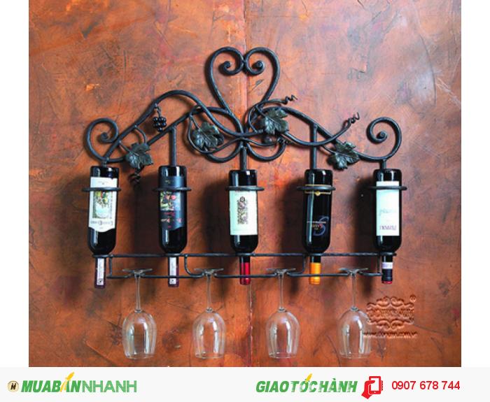 Kệ rượu sắt rèn nghệ thuật Đông  Ấn0