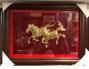 Tranh đồng ngựa song mã mạ vàng 24k .