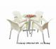 Bộ bàn ghế nữ hoàng kinh doanh cà phê, màu trắng, nhựa đặc