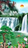Tranh  gạch men phong cảnh thác nước phong cảnh khổ dọc