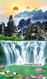 tranh thác nước đứng - gạch tranh 3d KL096