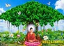 Tranh gạch men phật ngồi dưới cây bồ đề