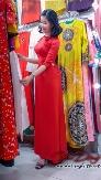 Áo Dài May Sẳn Lụa tây Thi Kết Hoa Nổi 3D ( Màu Đỏ)