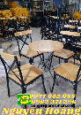 Ghế gỗ chân sắt ghé cabin bàn gỗ chân sắt