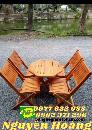 Ghế gỗ xếp gọn bàn gỗ bát giác chân thấp nguyên bộ