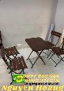 Ghế xếp gỗ  6 mảnh 4 chiếc bàn gỗ chân sắt bộ 5 món Nội Thất Nguyễn Hoàng