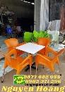 Ghế nhựa nữ hoàng chân sắt màu cam
