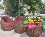 Bộ Bàn ghế Sofa mây trứng có đệm nhung Nội Thất Nguyễn Hoàng Sài Gòn