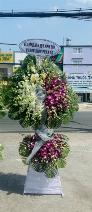 Lẵng hoa chia buồn 2 tầng lan trắng và lan hồ điệp - LDNK30