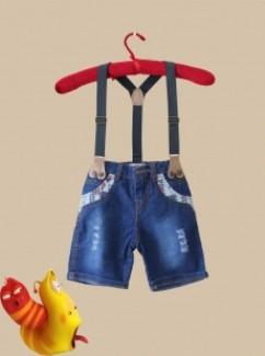 Quần Jean dây đeo cho bé trai