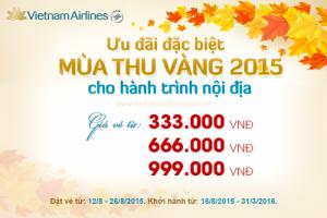 Vé máy bay Vietnam Airlines khuyến mãi 333k