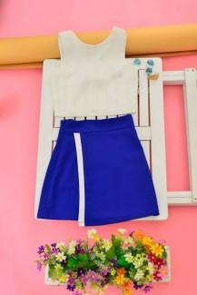 Bộ váy áo nơ xanh biển