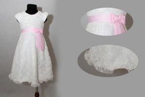 Đầm ren phối nơ hồng trung