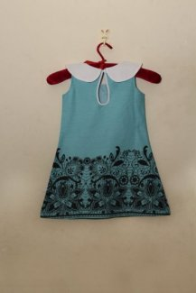 Đầm cổ sen xanh