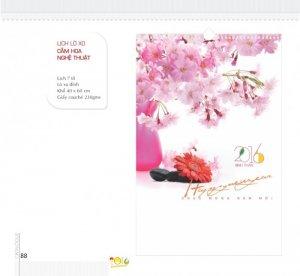Lịch lò xo 7 tờ - Cắm hoa nghệ thuật - Lò xo đỉnh - Khổ 40 x 60 cm - Giấy couché 230gms