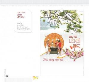 Lịch lò xo Lễ hội Việt Nam - Lịch 7 tờ, lò xo đỉnh, khổ 40 x 60 cm, giấy couché 230gms - Tờ bìa