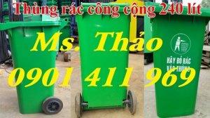 Thùng rác công cộng, thùng rác nhựa 2 bánh xe, thùng đựng rác bằng nhựa, xe rác