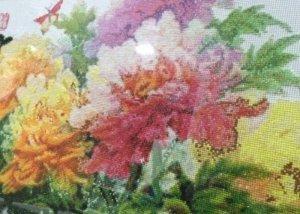 Tranh thêu hoa mẫu đơn size lớn - Thành phẩm - Sang trọng