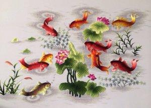 Các mẫu Tranh thêu tay 100% Cá chép Sen Tài Lộc - Hàng độc - Rẻ nhất SG ! Bao ship & Lắp đặt