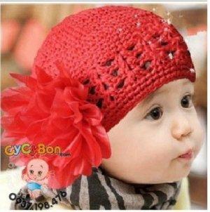 Băng Đô Len Bông Đỏ