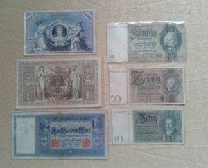 6 tờ tiền Đức xưa 1908-1924. Bao ship.