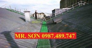 Tấm sàn ô lưới frp lót trên mái nhà chống trượt, sàn lót trên mái nhà frp