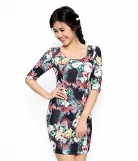 Đầm body tay lỡ in hoa ZID26185
