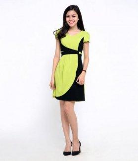 Đầm công sở nữ phối màu ZID15508